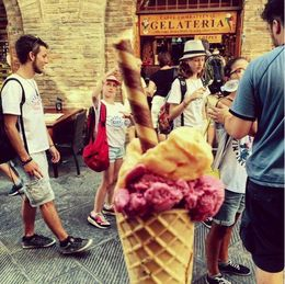 Really good ice-cream in San Gimignano, but not as good as I had in Florence! , Eva L - August 2015