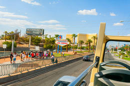 The famous Las Vegas Sign as seen from the top of the Las Vegas Big Bus Hop-On Hop-Off tour., Viator Insider - December 2017