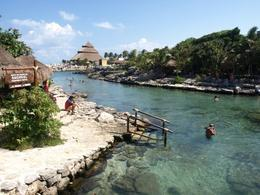 Nice lagoon with warm sea water at Xcaret Park, Cancun - May 2011