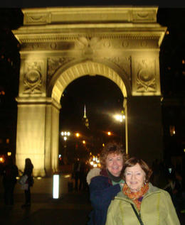 Terry and Mary at the Arch in the Village. , MARY E O - November 2016