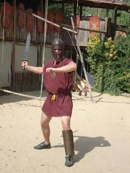 This is me after two hours of training at Gladiator School. I am now ready to take on the biggest of them all - ha,ha !! - October 2009