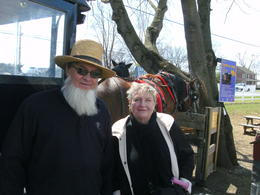 Beverley and our Amish buggy driver.His description of a life in the Amish community dispels the many myths portrayed in modern day TV documentaries. , Howard H - April 2014