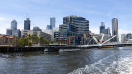 This is the view when on the ferry going down the east side past the Docklands. , Stephen W - January 2015