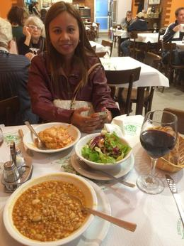 Virginia Peterson with Lasagna, Zuppa Fagioli in the foreground, excellent recommendation from Tiffany. , John A P - November 2014