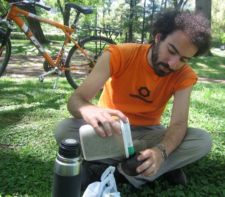 Gabriel preparing mate after our bike ride in Buenos Aires - Buenos Aires