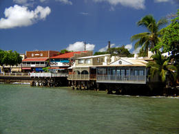 Old whaling town of Lahaina, Maui, Hawaii: old buildings on the ocean along Front Street - December 2011