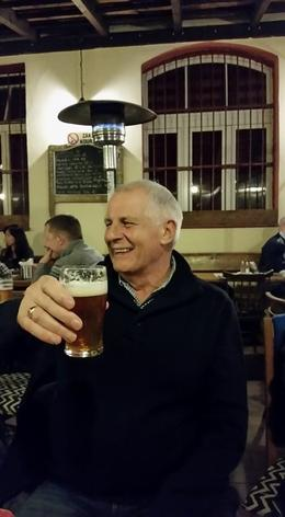 Leonard enjoying his Beer , Patricia B - December 2017