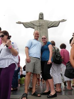 My wife and I in the picture with Christ the Redeemer in the background. Great view on top of the mountain., Andre M - December 2009