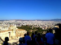 Picture taken from the front gate of the acropolis. The guide is giving a narration about the Athena Nike temple. , Manaschai K - September 2012