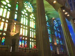 The sun through the windows inside the Sagrada Familia, SCV - June 2016