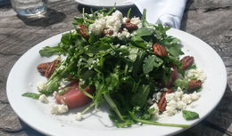 Beets, arugula, candied pecans, and goat cheese. . . yum!, Emily G - April 2015
