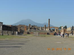 Temple of Neptune and Jupiter. Mt. Vesuvius in the background. , Leonila C - October 2012