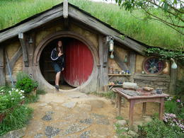 Stepping inside one of the hobbit holes where they keep some umbrellas , Hunter - December 2016