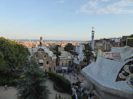 A view looking down to the bay and the entrance to Park Guell in Barcelona , Linda S - September 2017