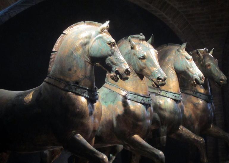 Ancient bronze horses in St Mark's - Venice
