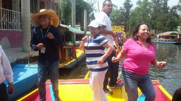 Guy in the sombrero was our tour guide and that's my mom in pink! dancing away on a Trajinera to mariachi music playing on Mother's Day! , Karla M - May 2016