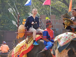 Kevin Teter riding the elephant after the elephant show. , Kevin T - February 2014