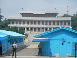Overlooking JSA with a DPRK soldier in the background , Sam C - June 2014