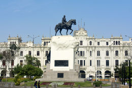 Lima City Tour - Statue of General San Martin on horseback in Plaza San Martin , Chefman - June 2015