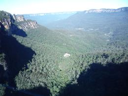 This is the scenic vista from the tram going down the mountain to the valley below., Anna J - August 2009