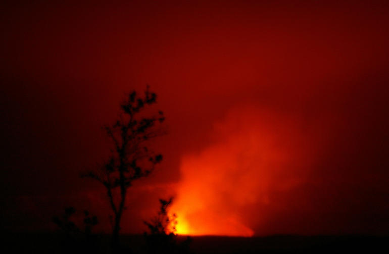 summit of Kilauea at night - Big Island of Hawaii