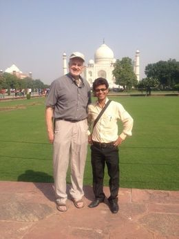 At the Taj Mahal with our guide Mohd Jugnu , lorkol - November 2015