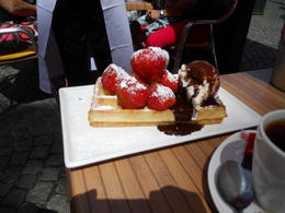 Be sure to sit in an outdoor cafe and sample a Belgian Waffle perhaps with some Belgiun tea. Of course, don't forget to bring come Belgian chocolate. , Sharon K - July 2014