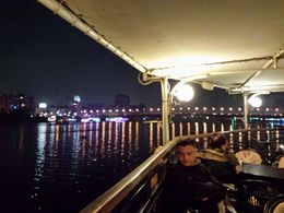 Nile River Dinner Cruise, upper deck, view of city lights , Melanie S - December 2015