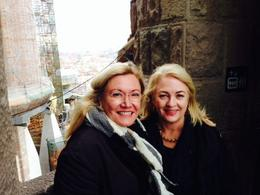 Julie Ireland and Karen Bragg on the walkway between the two towers. Breathtaking. , Julie I - January 2014