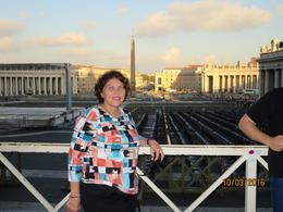 Cindy standing in St. Peter's Square with the Cathedral in the background. , Cynthia P - October 2016