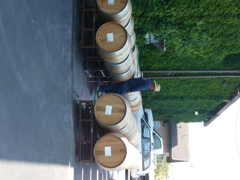 Washing the barrels for the next batch - San Francisco