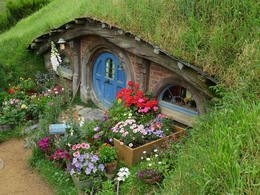 Loved the flowers in front of this smaller hobbit hole , Hunter - December 2016