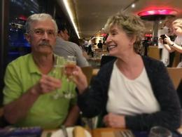 Husband and I toasting a wonderful trip during Sydney Harbon Dinner Cruise. , wwmelton - January 2017