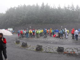 People waiting to climb Mt. Fuji. No visibility. , Debbie T - September 2017