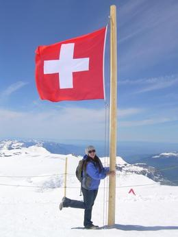 with the swiss flag at the top of jungfrou! , Chelsea W - May 2012