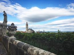 View from walkway between cathedral and Jesuit university - looking out at vineyards , Kathryn H - September 2016