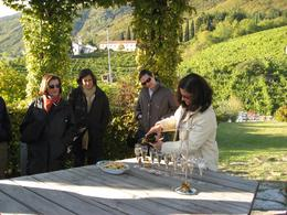 Enjoying a round of fresh prosecco while we relaxed at the end of our tour in a vine-covered pavilion outside a hilltop vineyard ~ used under CC-BY license., Mark S - October 2007