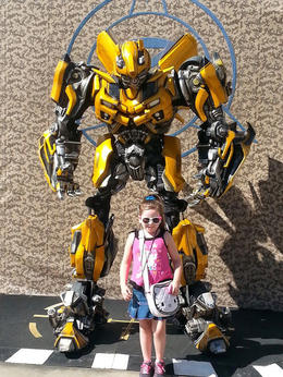 Lanie with Bumblebee. She was super excited to see him., Becky - October 2014