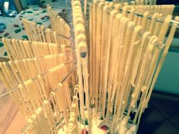 Fresh, hand rolled and cut pasta drying slightly before being cooked. , Casey S - December 2014