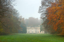 Amalienburg, part of the Nymphenburg Castle in Munich, Germany on a foggy Autumn day early in the morning - May 2011
