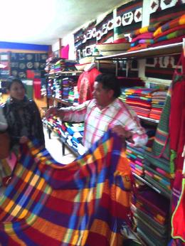 Hand made cloth out of the Century Plant from the Ecological Center at Teotihuacan. They dye with various vegetable oils. They also make various alcoholic beverages from the Cactus plant, i.e.,..., Thao E - November 2012
