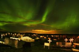 Northern Lights at the cemetery. Photo by my daughter. , Linda M L - January 2017