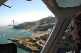 Helicopter tour over San Francisco - our pilot and view of Golden Gate Bridge - August 2009