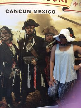 Tenecia getting ready to get on the ship for the dinner cruise , Tenecia M - June 2015