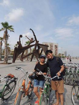 Vaibhav and me at Barcelonetta beach during the Bike tour. , Juee K - December 2016