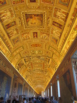 This is the gold leaf covered ceiling in one of the galleries in the Vatican Museum. , Elizabeth J - November 2011
