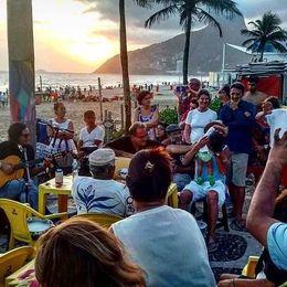 People playing samba and drinking beer on Ipanema beach. , Cesar G - December 2015