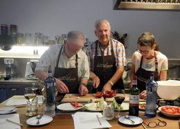 David Blauch, Denise Blauch, Rev. Thomas English preparing vegetables for the Paella Mariscos , Dave - June 2016