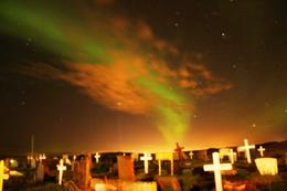 Northern Lights at a cemetery. Photo by my daughter. , Linda M L - January 2017