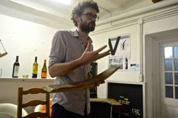 Ewen telling us about the barrels in which wines are aged , Shannon G - July 2015